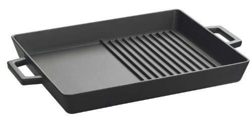 Lava Enameled Cast-Iron 10 X 12 Inch Griddle/Grill Pan, Slate Black front-382614