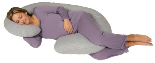 Pillow For all Body Special:Snoogle Chic Jersey - Snoogle Total Body Pregnancy Pillow with 100% Jersey Cotton Knit Easy on-off Zippered Cover - Heather Gray