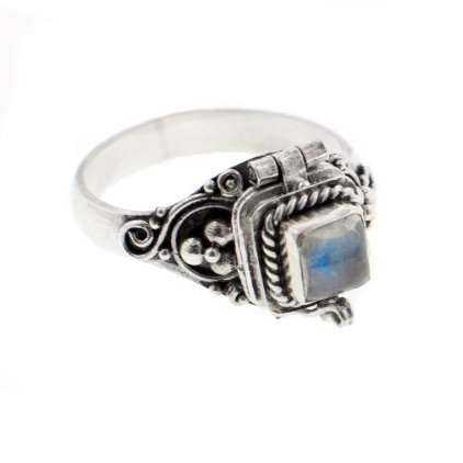 Sterling Silver Rainbow Moonstone Poison Box Locket Ring at Amazon.com