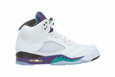 Mens Nike Air Jordan 5 Retro Basketball Shoes GRAPES White / New Emerald Grape / Ice / Black 136027-108 Size 8.5