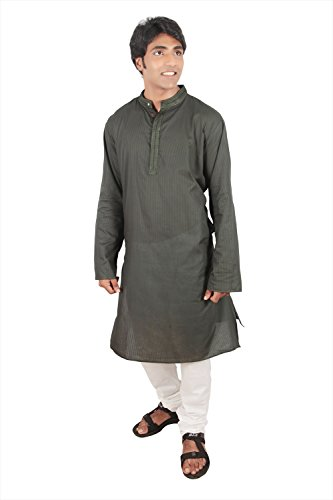 Indian Clothing Men's Long Kurta Tunic Banded Collar Embellished Placket Shirt Set