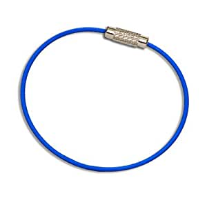 MantaRing - Cable Key Ring with Screw Lock - Strong, Flexible, Waterproof. One Ring for Keys and So Much More (Blue)