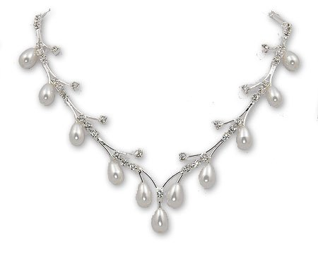 Shooting Star Necklace & Earring Set: Wispy Silver Branches, White Pearls - Bridal Jewelry