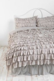 300Tc Solid Light Grey Full Ruffle Duvet Set 100% Egyptian Cotton front-969507