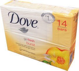 Dove Beauty Bar Go Fresh Burst with Nectarine and White Ginger Scent, 14 Bars