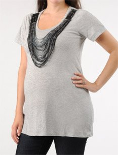A Pea in the Pod: Short Sleeve Scoop Neck Necklace Trim Maternity T Shirt