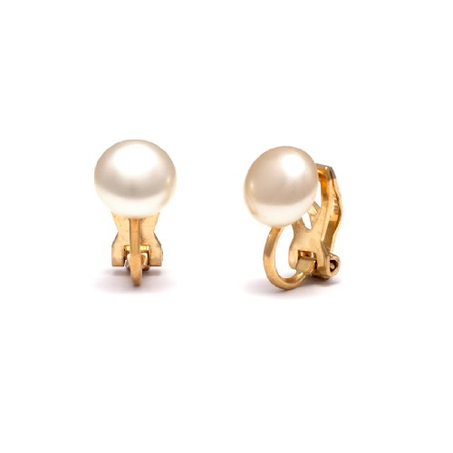 Baby Button Pearl Clip On Earrings - Gold back 1cm