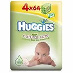 Huggies Natural Care Baby Wipes 4 x Pack of 64