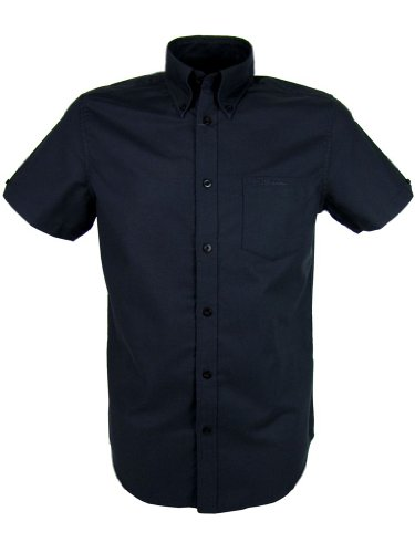 Ben Sherman Oxford Shirt Plain Short Sleeves Black [Large]