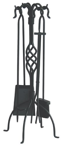 Uniflame, F-1053, 5pc Black Wrought Iron Fireset with Center Weave (Fireplace Tools Prime compare prices)