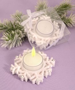 Winter Theme Candle Holder Wedding Favors - Snowflakes