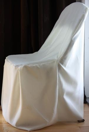 Ivory Folding Chair Covers (Set of 10). Great for Weddings and Events. Make Your Next Party or Banquet Pop with These Beautiful Chair Covers