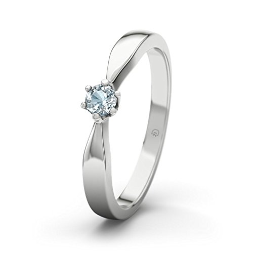 21DIAMONDS Women's Ring Birgit 21PREMIUM Engagement Ring Brilliant Cut Aquamarine Engagement Rings, Silver