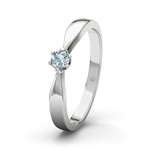 21DIAMONDS Women's Ring Birgit 21PREMIUM Engagement Ring Brilliant Cut Aquamarine Engagement Rings, Silver