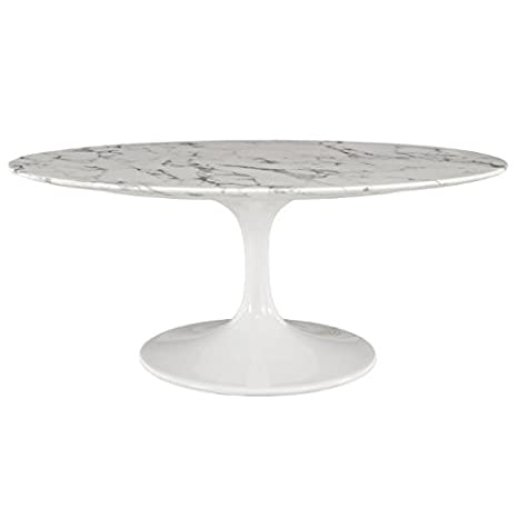 """Modern 42"""" Oval-Shaped Artificial Coffee Table with Marble Top"""