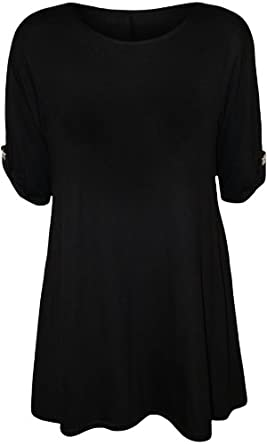 Womens Turn Up Button Short Sleeve Ladies Stretch Round Neck Baggy Top - Black - 8-10