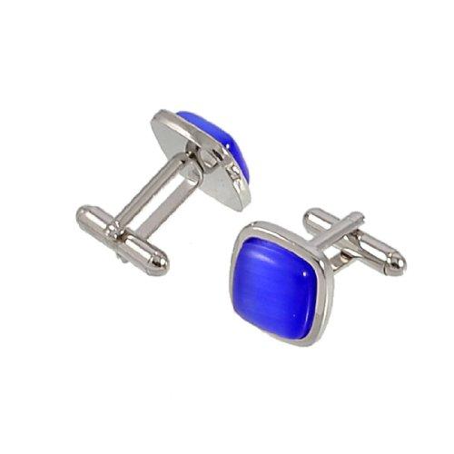 Allegra K Pair Metal Frame Plastic Bead Mens Shirt Cufflinks Silver Tone Purple
