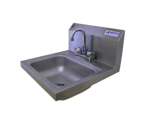 Griffin H30-224C Hand Wash Wall-Mounted Sink With Faucet, Stainless Steel front-1039114
