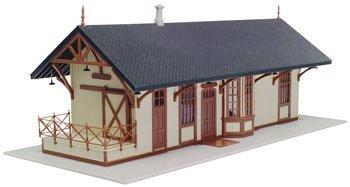 HO 1872 Maywood Train Station Kit (Tan w/Brown Trim) Atlas Trains