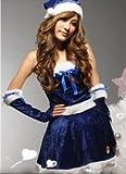 サンタ衣装 クリスマス コスプレ  + 帽子 + アームカバー 3点セット 【kj213】(青3点セット)