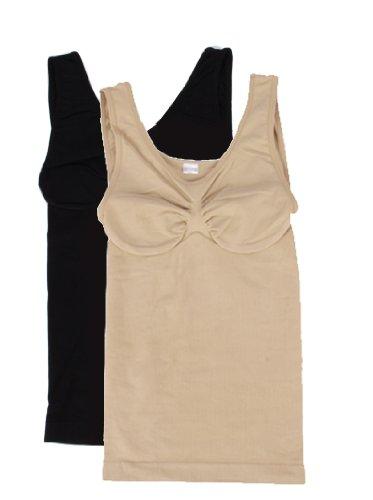 9731-2er-Pack-Damen-Bauch-Weg-Hemden-Shape-Wear-Slim-Unterhemden-figurformend-XBAGS-einfarbig-BeigeSchwarzBordoWei-Gr-ML4042-Gr-3Xl4XL5658