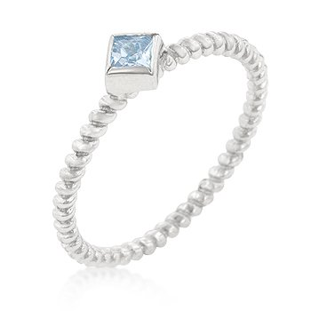 RIGHT HAND RING - .925 Sterling Silver Solitaire Ring with Bezel Set Princess Cut Blue Topaz CZ Set Over a Twisted Shank in Silvertone