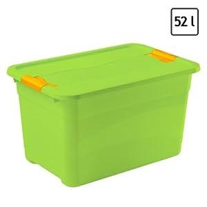 52 ltr aufbewahrungsbox mit deckel und rollen kunststoff gr n spielzeugkiste k che. Black Bedroom Furniture Sets. Home Design Ideas