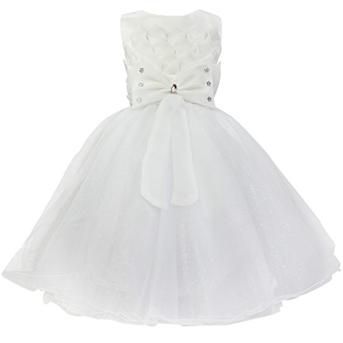 YiZYiF Lotus Flower Girls Dress Party Wedding Pageant Communion Princess Sundress White 3 Years