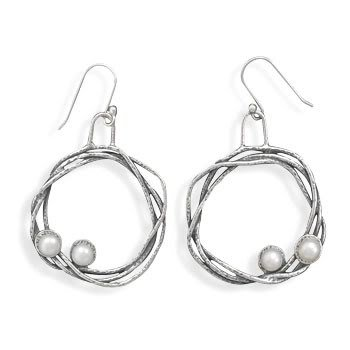 Oxidized Woven Open Circle with Cultured Freshwater Pearl Earring