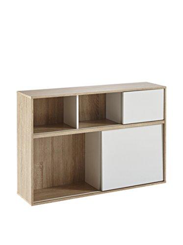 Demeyere 211510 Slide Regal mit 2 weißen Schiebetüren aus Spanplatten dekoriert, Breite 116,9 x 78,5 x 30 cm, Korpus in eiche