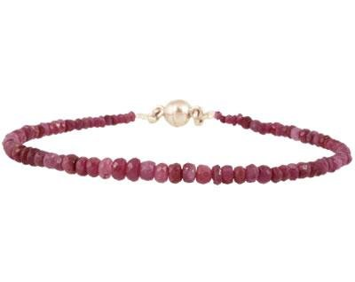 All Natural Ruby Bead Bracelet with Magnetic Clasp