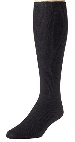 Sportoli Men's Classic Soft Ribbed Knit Cotton Blend Comfortable Knee High Socks - Black (9-11)