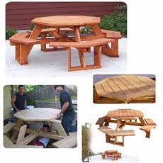 Octagon Picnic Table Plan (Woodworking Project Paper Plan)