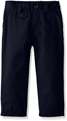 U.S. Polo Association Little Girls' Twill Flat Front Pant with Coin Pocket, Navy, 2T