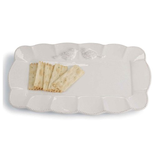 Mud Pie Long Platter with Scallop Edge and Love Bird Detail