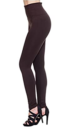 MHOC Fleece Lined Leggings High Waist Thick Slimming Compression Top Many Colors (One Size, *Brown)