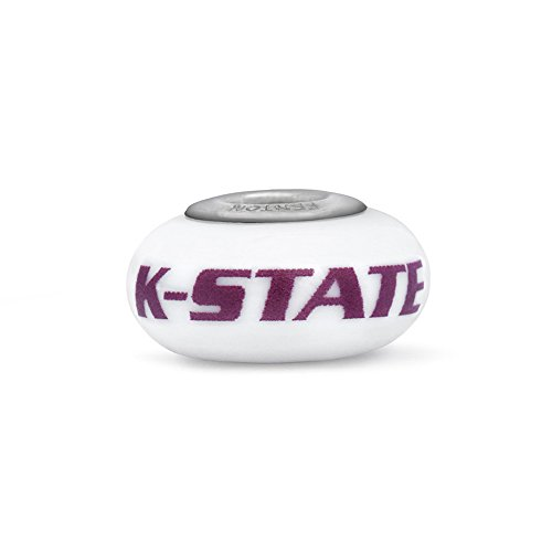 Kansas State University Wildcats Fenton Glass Bead Fits Most European Style Charm Bracelets