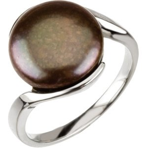 Sterling Silver Freshwater Cultured Black Coin Pearl Ring