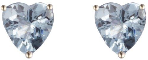 9ct Yellow Gold Aquamarine Heart Claw Set Stud Earring