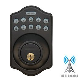 Lockstate Connect Wifi Internet Controlled Remote Access Lock, Electronic Deadbolt Keypad Smart Door Lock, Oil Rubbed Bronze Color