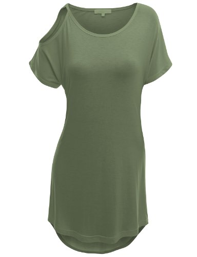 Doublju Womens Short Sleeve T-shirt with Open Shoulder Point