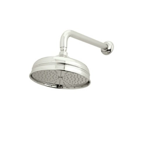 Rohl 1037/8PN 8-Inch Diameter Bordano Shower Rose Showerhead with Easy Clean Anti-Cal Spray Pattern Swivel and Flow Restrictor, Polished Nickel