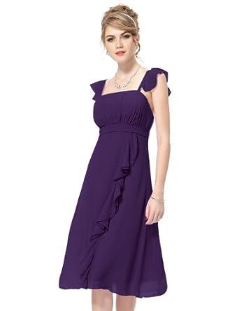 HE03337PP06, Purple, 4US, Ever Pretty Ruffles Calf-length Empire Line Bridesmaid Dress 03337