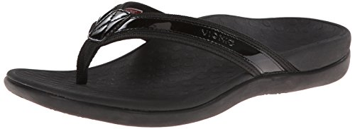 Vionic with Orthaheel Technology Women's Tide II Sandal,Black,US 8 M