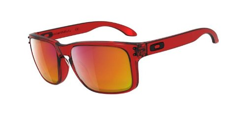 Oakley Men's Holbrook Iridium Rectangular Sunglasses,Crystal Red Frame/Ruby Lens,one size