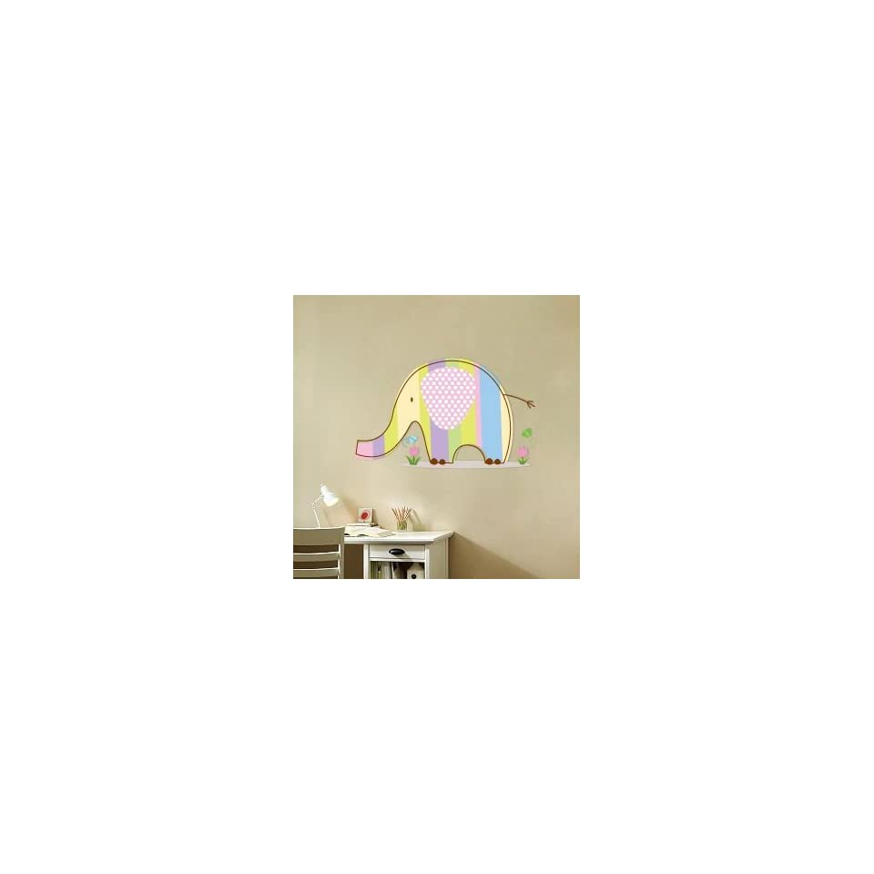 Kids Elephant Vinyl Wall Decal with Flowers Grass and Butterflys