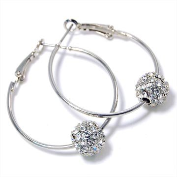 Swarovski+Designer+Style+Ball+Hoop+Earrings+Fashion+Jewelry