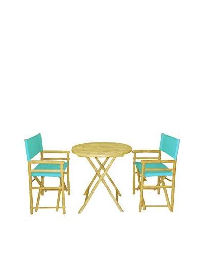 ZEW, Inc. Round Table & Director Chair Set, Aqua