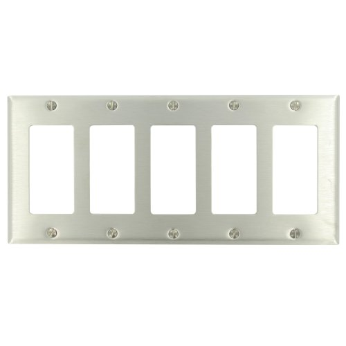 Leviton 84423-40 5-Gang Decora Wallplate, Standard Size, With Screws Bagged, Device Mount, Stainless Steel