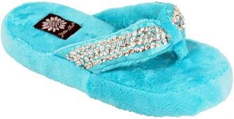 Image of Yellow Box Slippers Happy Turquoise Ladies Sequins Flip Flops Houseshoes (B00418EO9A)